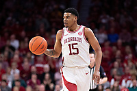 FAYETTEVILLE, AR - MARCH 4:  Mason Jones #15 of the Arkansas Razorbacks runs the offense during a game against the LSU Tigers at Bud Walton Arena on March 4, 2020 in Fayetteville, Arkansas.  The Razorbacks defeated the Tigers 99-90.  (Photo by Wesley Hitt/Getty Images) *** Local Caption *** Mason Jones