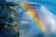 Rainbow in Athabasca Falls detail. Jasper National Park<br />Jasper National Park<br />Alberta<br />Canada
