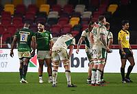 Rugby Union - 2020 / 2021 European Rugby Challenge Cup - London Irish vs Pau - Brentford Community Stadium<br /> <br /> London Irish's Motu Matu'u with Albert Tuisue.<br /> <br /> COLORSPORT/ASHLEY WESTERN