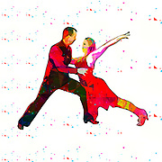 Digitally enhanced image of a Salsa dancing couple