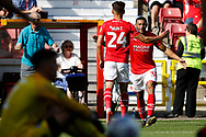 Swindon Town winger Keshi Anderson celebrates a goal (1-0) during the EFL Sky Bet League 2 match between Swindon Town and Macclesfield Town at the County Ground, Swindon, England on 14 September 2019.