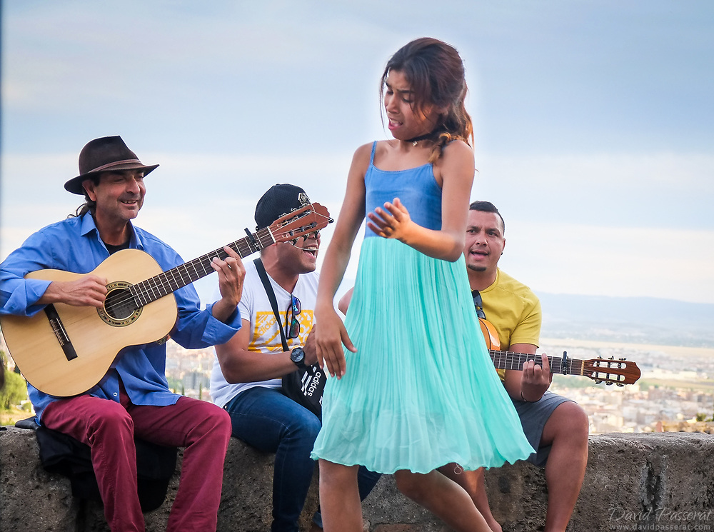Traditional street flamenco performance.