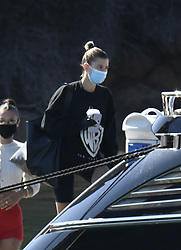 Hailey Bieber arrives at Olbia Airport on a private jet before boarding a yacht with Bella Hadid. 23 Jun 2020 Pictured: Hailey Bieber. Photo credit: MEGA TheMegaAgency.com +1 888 505 6342