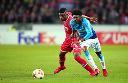 Ainsley Maitland-Niles of Arsenal takes on Jhon Cordoba of Cologne - Mandatory by-line: Robbie Stephenson/JMP - 23/11/2017 - FOOTBALL - RheinEnergieSTADION - Cologne,  - Cologne v Arsenal - UEFA Europa League Group H