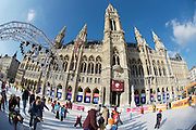 """The annual """"Eistraum"""" (Ice Dream) in front of Vienna's City Hall draws many skaters between January and March, each year. The artificially cooled ice rink works even at outside temperatures above zero degrees Celsius."""