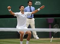 Lawn Tennis - 2021 All England Championships - Men's Final Sunday - Wimbledon - Novak Djokovic  v Matteo Berrettini on Centre Court<br /> <br /> Novak Djokovic celebrates winning match point<br /> <br /> Credit : COLORSPORT / Andrew Cowie