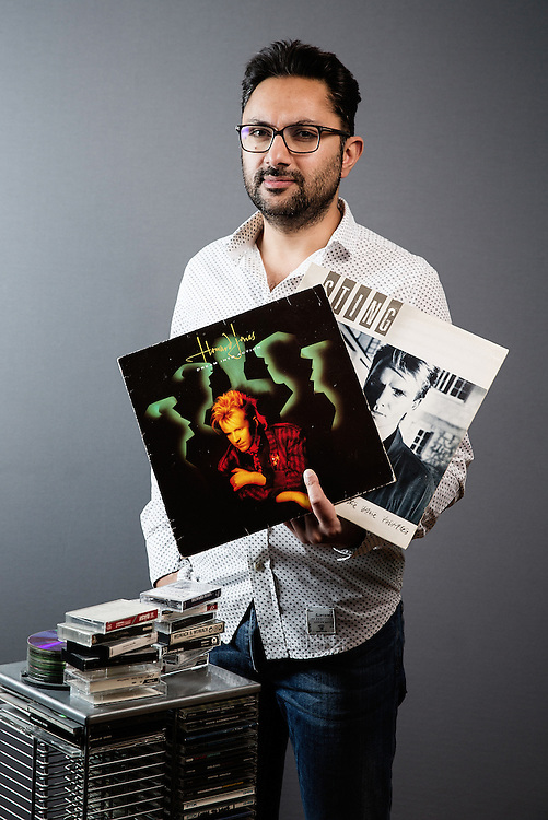 Times journalist Sathnam Sanghera portrait with his old music collection on March 1st 2016.
