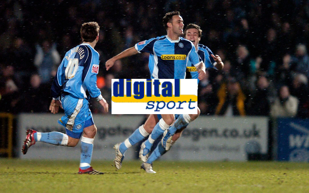 Photo. Richard Lane.<br />Wycombe Wanderers v Leyton Orient. Coca Cola League Two. 29/12/2005.<br />Wycombe's Stefan Oakes celebrates his goal.