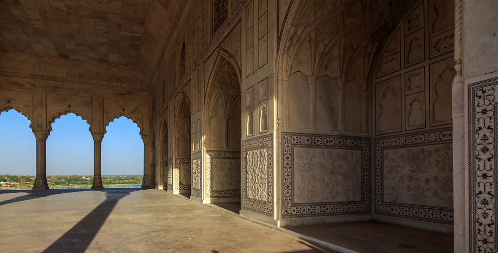 Diwan-i-Khas (Hall of Private Audience) in Agra Fort , India. This elegant structure was constructed by Shah Jahan in 1636. The Hall was remarkable for the presence of the celebrated Takht-i-Taus (The Bejewelled Peacock Throne) which was made in 1634 AD and after the construction of Diwan-i-Khas was placed here and later shifted to Delhi after the construction of the Red Fort in 1648.