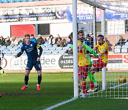 Dundee's Kane Hemmings scoring their first goal. Dundee 2 v 0 Partick Thistle, Scottish Championship game played 8/2/2020 at Dundee stadium Dens Park.