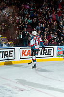 KELOWNA, CANADA - APRIL 14: Rodney Southam #17 of the Kelowna Rockets celebrates a goal with fans against the Portland Winterhawks on April 14, 2017 at Prospera Place in Kelowna, British Columbia, Canada.  (Photo by Marissa Baecker/Shoot the Breeze)  *** Local Caption ***