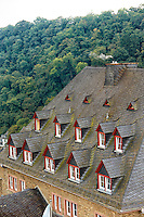 View of an old building with Dormer windows, scale shingles, and German architecture, St. Goar, Germany