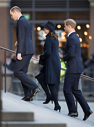 © Licensed to London News Pictures. 14/12/2017. London, UK. The Duke and Duchess of Cambridge and Prince Harry  arrive at St Paul's Cathedral for the Grenfell Tower National Memorial Service mark the six month anniversary of the Grenfell Tower fire. The service is attended by survivors and relatives of those who lost their lives in the fire, as well as members of the emergency services and members of the Royal family. 71 people were killed when a huge fire ripped though 24-storey Grenfell Tower block in west London in June 2017. Photo credit: Peter Macdiarmid/LNP