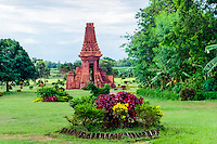 Java, East Java, Trowulan. Candi Bajang Ratu, a gate from the 14th century, close to Trowulan and Mojokerto. The wall it was once a part of is gone a long time ago.