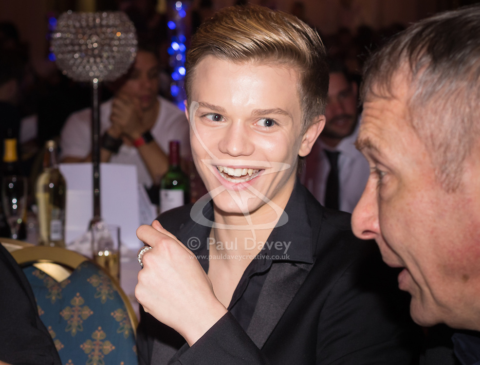 Old Town Hall, Stratford, London - 28 November 2015. Singers Marc Almond, Ronan Parke, Heather Peace and Asifa Lahore headline the Peter Tatchell Foundation's inaugural Equality Ball, a fundraiser for the foundation's LGBTI and human rights work, with guest of honour Sir Ian McKellen  joined by Michael Cashman. PICTURED: Ronan Parke chats during dinner.  //// FOR LICENCING CONTACT: paul@pauldaveycreative.co.uk TEL:+44 (0) 7966 016 296 or +44 (0) 20 8969 6875. ©2015 Paul R Davey. All rights reserved.