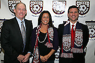15 January 2009: National Soccer Hall of Fame president Steve Baumann (left) with the 2009 player electees Joy Fawcett (center) and Jeff Agoos (right). The election announcement press conference was held at the Convention Center in St. Louis, Missouri in conjuction with the National Soccer Coaches Association of America's annual convention.