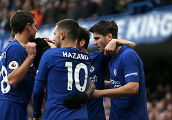 """Chelsea's Alvaro Morata (right) celebrates scoring his side's second goal of the game during the Premier League match at Stamford Bridge, London. PRESS ASSOCIATION Photo Picture date: Saturday December 2, 2017. See PA story SOCCER London. Photo credit should read: Steven Paston/PA Wire. RESTRICTIONS: EDITORIAL USE ONLY No use with unauthorised audio, video, data, fixture lists, club/league logos or """"live"""" services. Online in-match use limited to 75 images, no video emulation. No use in betting, games or single club/league/player publications."""