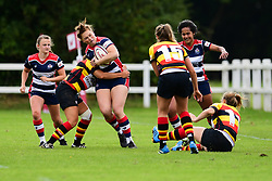 Ellie Mulhearn of Bristol Ladies is tackled by Rowena Burnfield of Richmond ladies - Mandatory by-line: Craig Thomas/JMP - 17/09/2017 - Rugby - Cleve Rugby Ground  - Bristol, England - Bristol Ladies  v Richmond Ladies - Women's Premier 15s