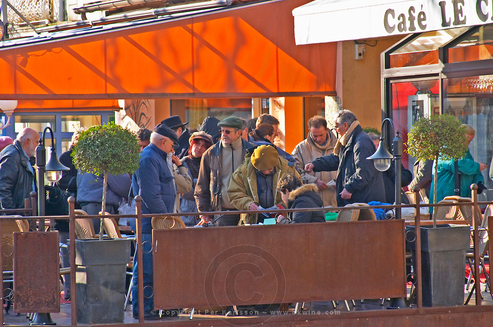 People buying and selling truffles at The truffles market in Carpentras, Vaucluse, Rhone, Provence, France
