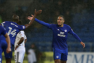 Kenneth Zohore of Cardiff city ® celebrates with Sol Bamba of Cardiff city after he scores his teams 1st goal. EFL Skybet championship match, Cardiff city v Fulham at the Cardiff city stadium in Cardiff, South Wales on Boxing Day, Tuesday 26th December 2017.<br /> pic by Andrew Orchard, Andrew Orchard sports photography.