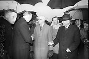15/04/1966<br /> 04/15/1966<br /> 15 April 1966<br /> Unveiling of Plaque at Boland's Mills. President Eamon de Valera unveils a plaque to commemorate the 1916 Rising at Bolands Mills, where he was Commandant during the insurrection. Picture shows Captain E.J. Hitzen, who arrested President De Valera at Bolands Mills in 1916, meeting the President  after 50 years at the unveiling.