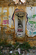 Athens, Greece, Graffiti on a wall of an old deserted and dilapidated building