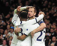 Football - 2019 / 2020 UEFA Champions League - Group B: Tottenham Hotspur vs. Olympiakos<br /> <br /> Harry Kane of Spurs celebrates scoring the equalising goal withLucas, Rose and son, at The Tottenham Hotspur Stadium.<br /> <br /> COLORSPORT/ANDREW COWIE
