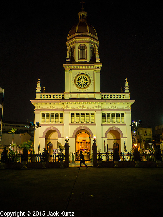 18 FEBRUARY 2015 - BANGKOK, THAILAND:  Santa Cruz Catholic Church in the Kudeejeen neighborhood in Bangkok. Santa Cruz church was established in 1770 and is the heart of the community. It is one of the oldest and most historic Catholic churches in Thailand. The church was originally built by Portuguese soldiers allied with King Taksin the Great. Taksin authorized the church as a thanks to the Portuguese who assisted the Siamese during the war with Burma. Most of the Catholics in the neighborhood trace their family roots to the original Portuguese soldiers who married Siamese (Thai) women. There are about 300,000 Catholics in Thailand in about 430 Catholic parishes and about 660 Catholic priests in Thailand. Thais are tolerant of other religions and although Thailand is officially Buddhist, Catholics are allowed to freely practice and people who convert to Catholicism are not discriminated against.            PHOTO BY JACK KURTZ