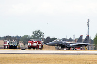 U.S. Air Force F-15 Eagle was taxiing to takeoff at Raf Lakenheath  but aborted to be seen to by the fire service.Photo Bt CHris Waynne
