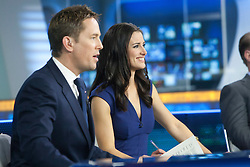 Simon Thomas and Kirsty Gallacher at the Sky Sports TV studio for the transfer Deadline Day show..© Michael Schofield...