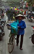 Flower seller in the Old Quarter of Hanoi