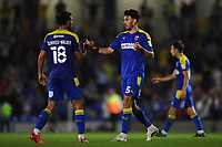 Football - 2021 / 2022 Papa Johns Trophy - Round One - AFC Wimbledon vs Portsmouth - Plough Lane - Tuesday 7th September 2021<br /> <br /> AFC Wimbledon's Will Nightingale with Nesta Guinness-Walker at the final whistle after their 5-3 victory.<br /> <br /> COLORSPORT/Ashley Western