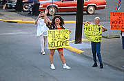 "US President Bill Clinton's ""Bridge to the 21st Century"" campaign bus is met by supporters along the road on their way to a campaign stop August 30, 1996 in Cairo, IL."