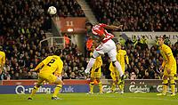 20111020: STOKE ON TRENT, ENGLAND -UEFA Europe League Group E: Stoke City vs Maccabi Tel-aviv.<br /> In photo: Cameron Jerome of Stoke City powers a header on goal.<br /> PHOTO: CITYFILES