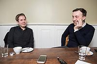 19 MAR 2018, BERLIN/GERMANY:<br /> Kevin Kuehnert (L), SPD, Bundesvorsitzender der Jusos, und Paul Ziemiak (R), MdB, CDU, Bundesvorsitzender der Jungen Union, waehrend einem gemeinsamen Interview, Restaurant Habel am Reichstag<br /> IMAGE: 20180319-01-018<br /> KEYWORDS: Kevin Kühnert
