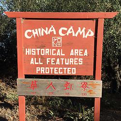 China Camp Historical Area Sign, China Camp State Park, San Rafael, California, US