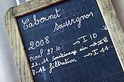 cabernet sauvignon sign on tank chateau lestrille bordeaux france