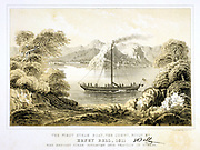 Comet', Henry Bell's steam boat of 1811. 40ft long, powered by a 3 horse power Boulton & Watt engine. Carried passengers on Clyde between Glasgow and Greenock, Scotland. Tinted lithograph, 1856.