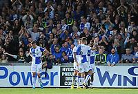 CELE - Bristol Rovers' Ellis Harrison celebrates scoring his side's third goal <br /> <br /> Photographer Ashley Crowden/CameraSport<br /> <br /> The EFL Sky Bet League One - Bristol Rovers v Blackpool - Saturday 23rd September 2017 - Memorial Stadium - Bristol<br /> <br /> World Copyright © 2017 CameraSport. All rights reserved. 43 Linden Ave. Countesthorpe. Leicester. England. LE8 5PG - Tel: +44 (0) 116 277 4147 - admin@camerasport.com - www.camerasport.com