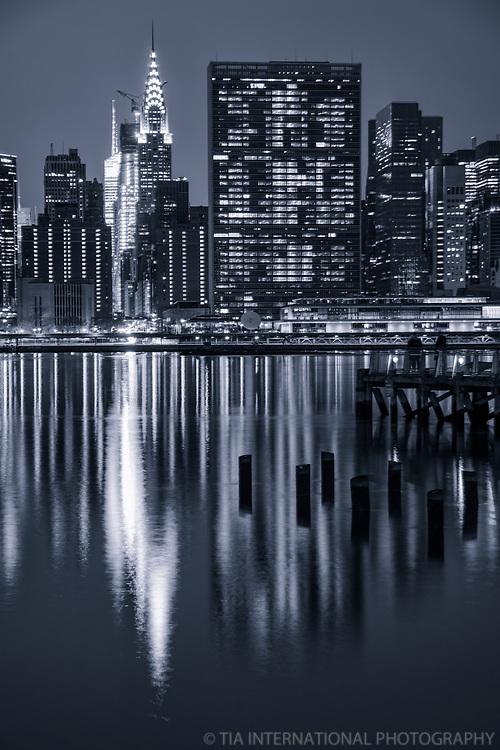 Chrysler Building, United Nations Headquarters & East River (monochrome)