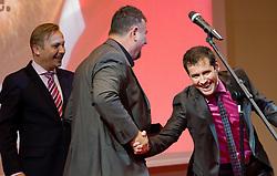 Peter Kukovica of AZS, coach Vladimir Kevo and Peter Poles during the Slovenia's Athlete awards ceremony by Slovenian Athletics Federation AZS, on November 12, 2008 in Hotel Mons, Ljubljana, Slovenia.(Photo By Vid Ponikvar / Sportida.com) , on November 12, 2010.