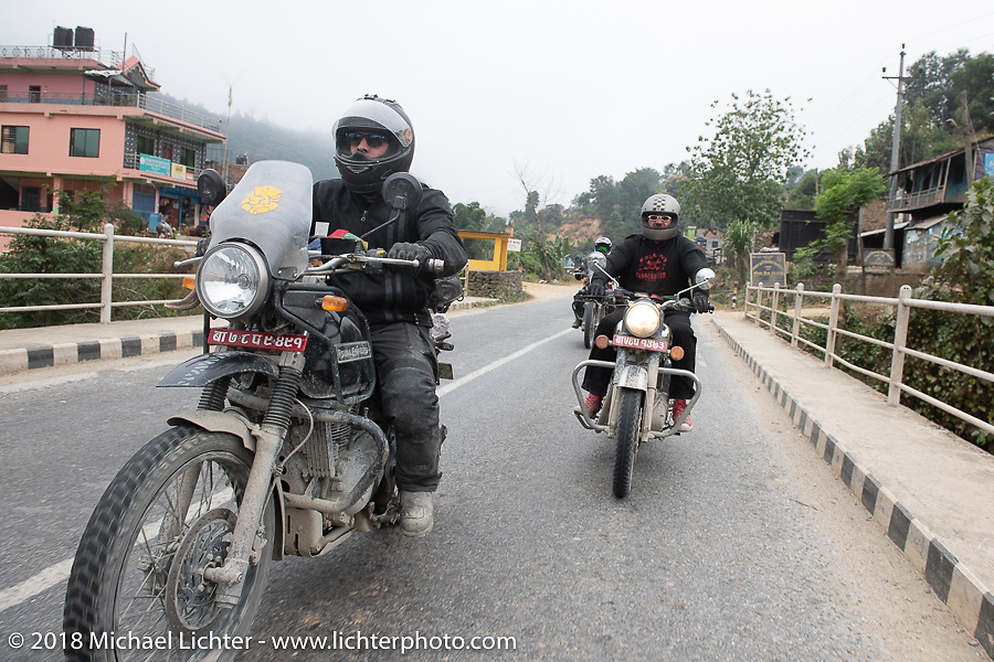 Chris Shelby (L) and Beanre (Kevin Doebler) on day-9 of our Himalayan Heroes adventure riding from Pokhara to Nuwakot, Nepal. Wednesday, November 14, 2018. Photography ©2018 Michael Lichter.