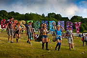 The Park, Glastonbury run by Emily Eavis (daughter of Michael Eavis) <br /> Glastonbury is the world's biggest greenfield festival with nearly 200,000  visiters camping in the dairy farm of Michael Evis in Somerset, UK.<br /> The first festival was in 1970 and was influenced by hippie ethics and the free festival movement. The festival retains vestiges of this tradition such as the Green Fields area which includes the Green Futures and Healing Field.
