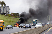 Car fire on I-80 in Hercules, California, NE of San Francisco.