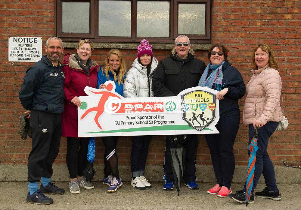 02-05-19. SPAR & FAI Primary School 5's North Leinster Finals at the MDL Grounds, Navan.<br /> L to R: David Mitchell, Jennifer Hussey, Linda Conlon, Bernie Roche, Peter Sherlock, Niamh Ronan and Lisa Burke all supporting Curraha.<br /> Photo: John Quirke / www.quirke.ie<br /> ©John Quirke Photography, Unit 17, Blackcastle Shopping Cte. Navan. Co. Meath. 046-9079044 / 087-2579454.