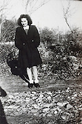 young adult woman posing rural France 1946