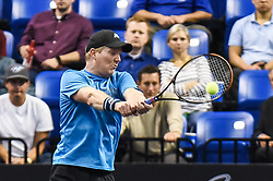 October 4, 2018 - St. Louis, Missouri, U.S - JIM COURIER with the backhand shot during the Invest Series True Champions Classic on Thursday, October 4, 2018, held at The Chaifetz Arena in St. Louis, MO (Photo credit Richard Ulreich / ZUMA Press) (Credit Image: © Richard Ulreich/ZUMA Wire)