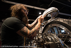 Andy James working on a rear section for a Velocette Venom on a custom Rickman Frame at Revival Cycles in Austin, TX on Monday after the Giddy Up Vintage Chopper Show.  March 30, 2015, photographed by Michael Lichter. ©2015 Michael Lichter