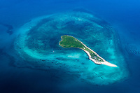 Aerial view of coral islands and surrounding atolls, Quirimbas, Mozambique