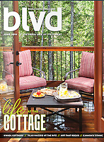 Cover of Boulevard Magazine, a local Victoria lifestyle publication, features a patio surrounded by West Coast forest.